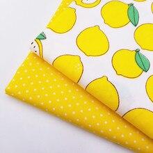 Serie amarilla estampado de limones tela de sarga de algodón tejido 100% tela de algodón puro para la decoración de la pared de la ropa de cama textil del hogar
