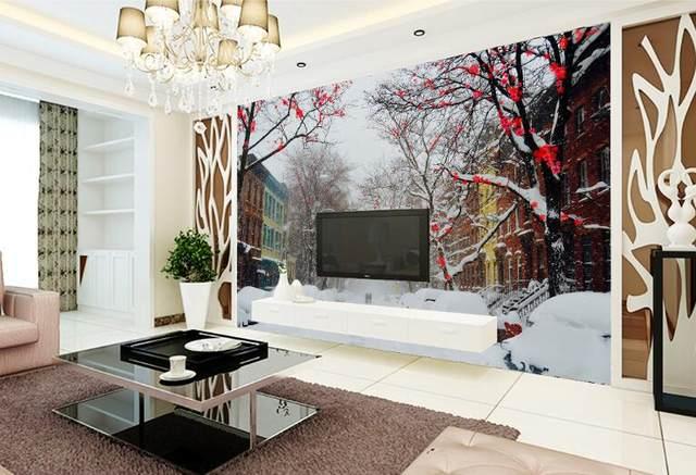 Online-Shop Kalten winter plum schnee straße große wandbilder 3d ...