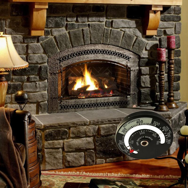 Stove Flue Thermomètre Jauge rapide Lecture en alliage d/'aluminium pour Bois Log brûleurs