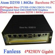 Kleine пк Barebone переносных компьютеров мини-пк мини-компьютер мини-пк без вентилятора с атом Intel двухъядерный D2550 1.86 ГГц 4 * 82583 В гигабитные сетевые контроллеры Wake on LAN 12 В DC