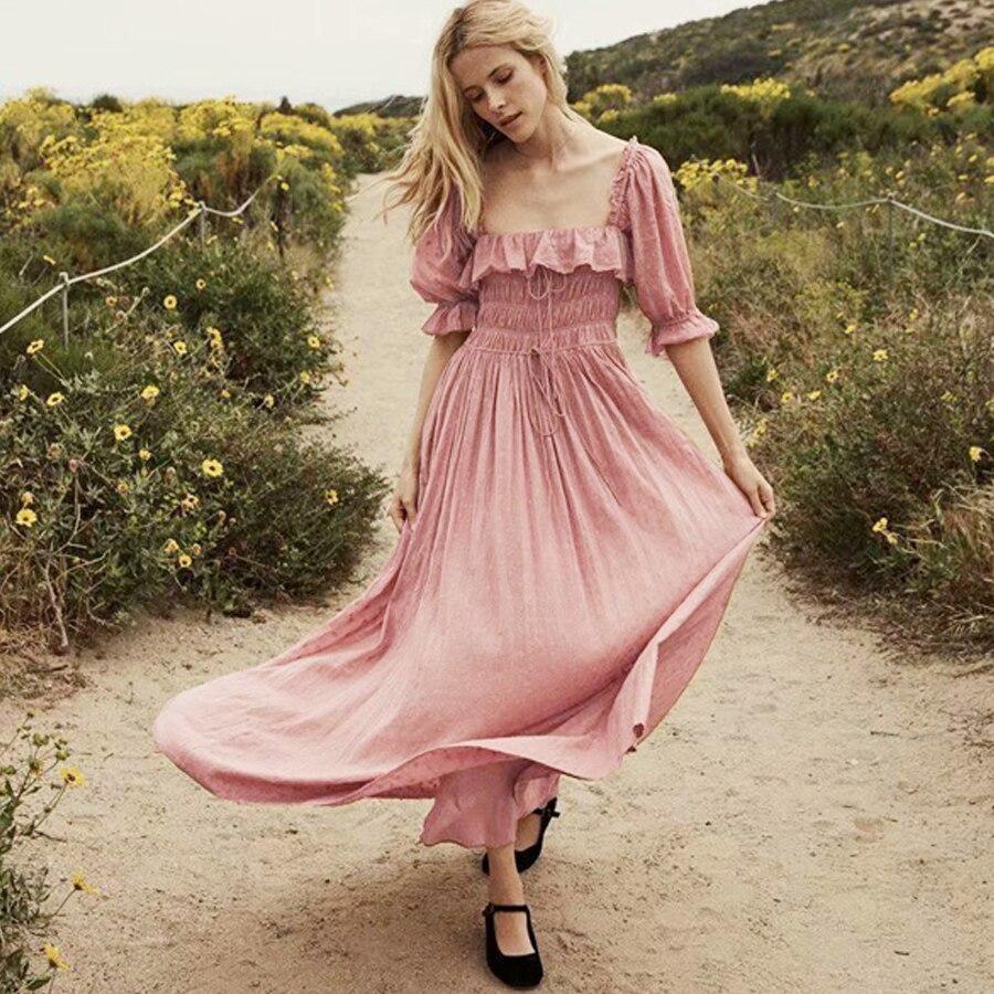 c6df5af394ad0 US $29.96 35% OFF TEELYNN puff sleeve boho dresses 2019 vintage pink cotton  long dresses Dot jacquard fabric Hippie women dresses chic Vestido-in ...