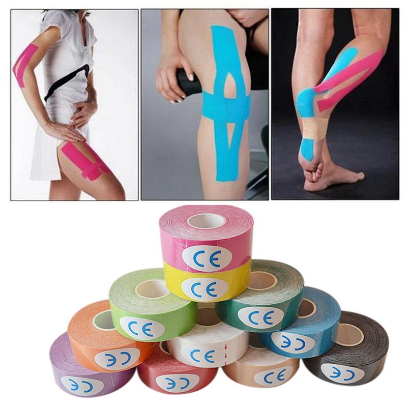 Mayitr <font><b>Sports</b></font> Muscle Tape Strain <font><b>Injury</b></font> Strap Sticker Training Muscle Tapes Kinesiology Care Bandage 2.5cmx5m image