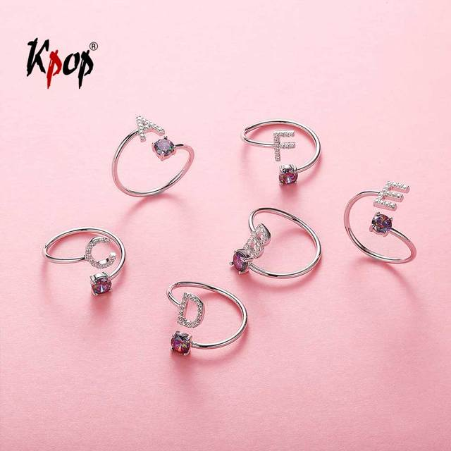 Kpop 925 Sterling Silver Initial Letter Ring Statement Jewelry CZ Rianbow Crystal Alphabet A to Z Open Ring for Women R6047
