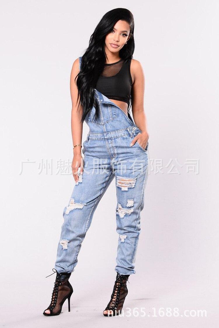 2018 New Women Overalls   Jeans   Ripped   Jeans   Cotton Slim Vintage High Waist Denim   Jeans   Pants Skinny   Jeans   Woman Plus Size
