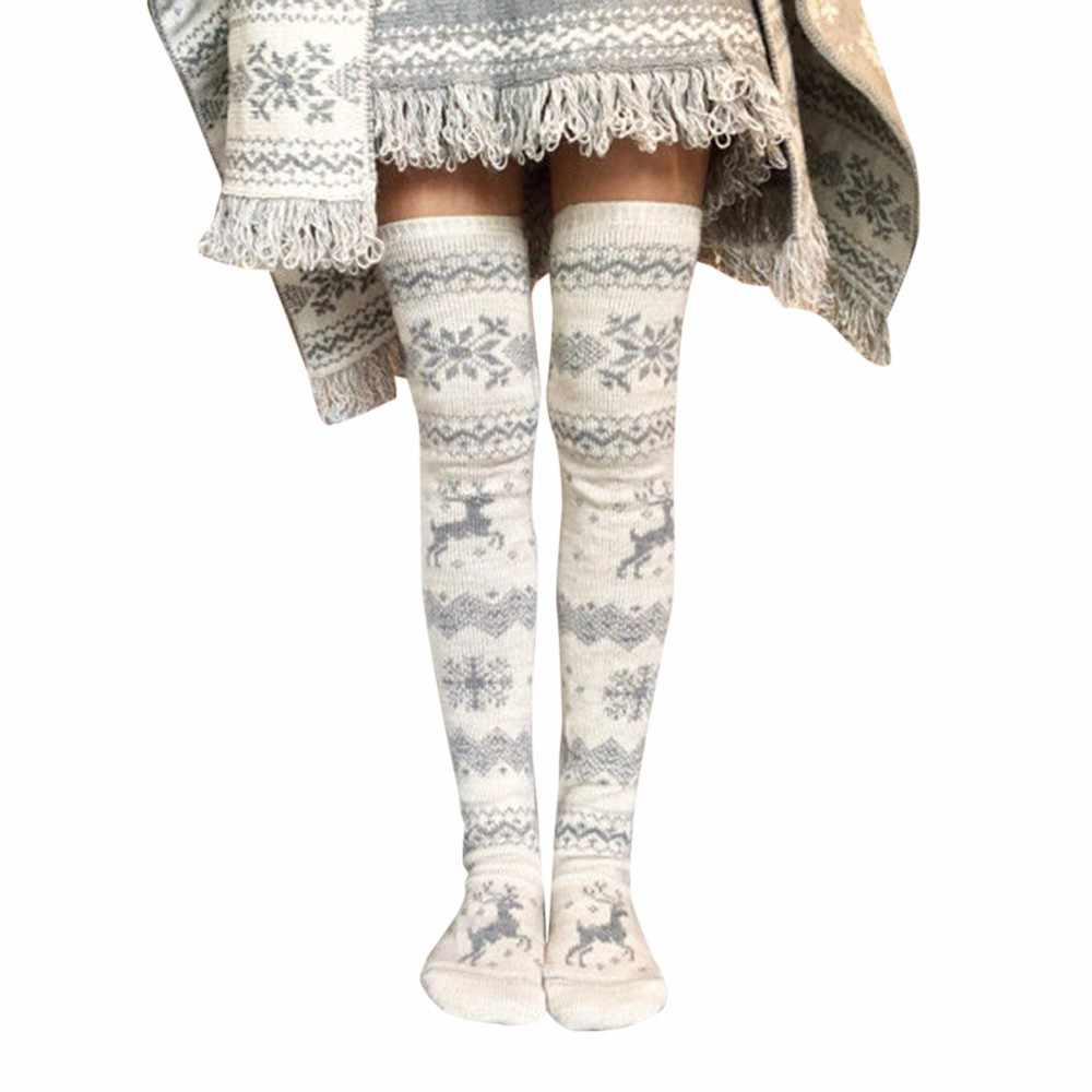 f548ee733 Christmas Stockings Fashion Women Thigh High Knit Over Knee Socks Christmas  Deer Printed New Year Gift