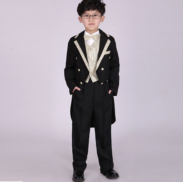 b02bcfcc0aac9 US $18.93 9% OFF European and American Style Boys Costums Formal Suits  Children Wedding Blazers Christmas Gift Boys Magic Clothes Set Tuxedo  Suit-in ...