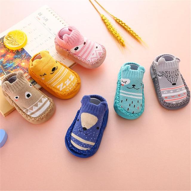 Trẻ sơ sinh Bé Vớ Ấm Non-Slip Toddler Cô Gái Cậu Bé Nhà Sàn Giày Vớ Bông Dệt Kim Mềm Đế Bé Đi Bộ chân Vớ