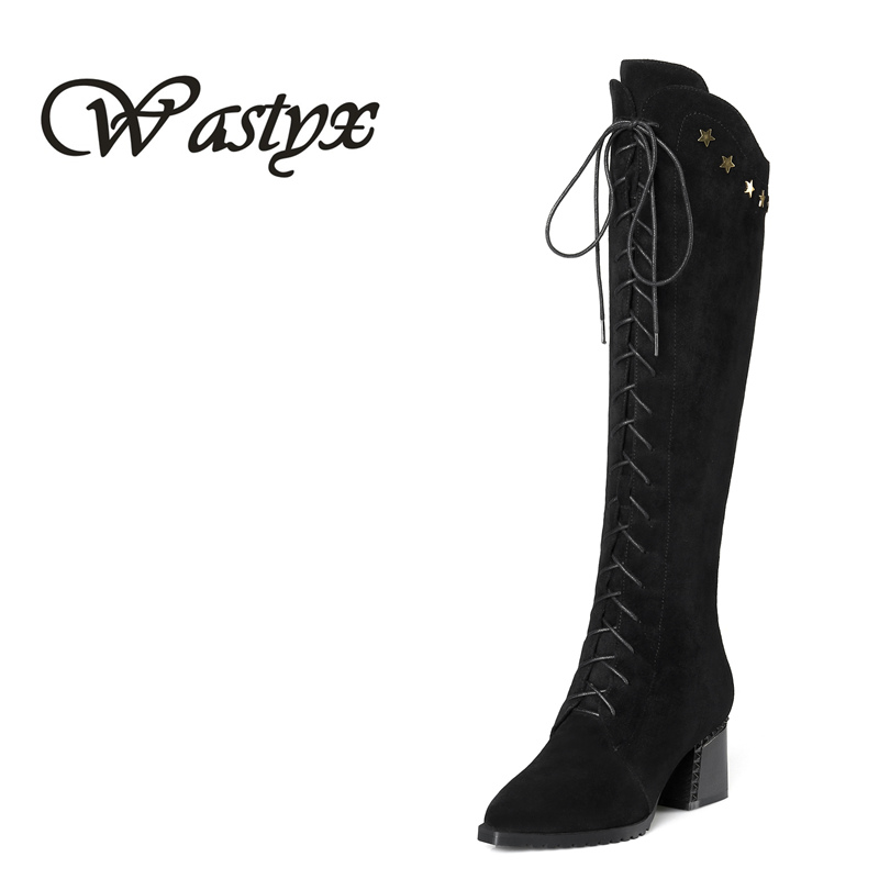 Wastyx 2018 high quality women boots high heels pu+ genuine leather motorcycle boots women lace up knee high boots winter shoes de la chance winter women boots high quality female genuine leather boots work