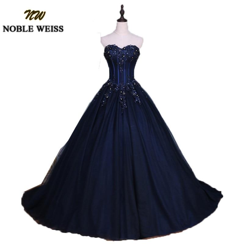 NOBLE WEISS Navy Blue Quinceanera Dresses 2019 Ball Gown Sweetheart Strapless Vestidos de 15 anos Applique