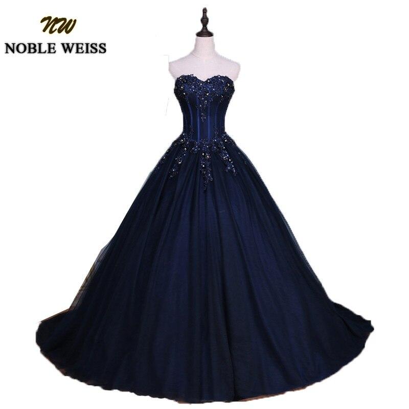 NOBLE WEISS bleu marine Quinceanera robes 2019 robe de bal chérie bretelles robes de 15 anos Applique dentelle douce 16 robes