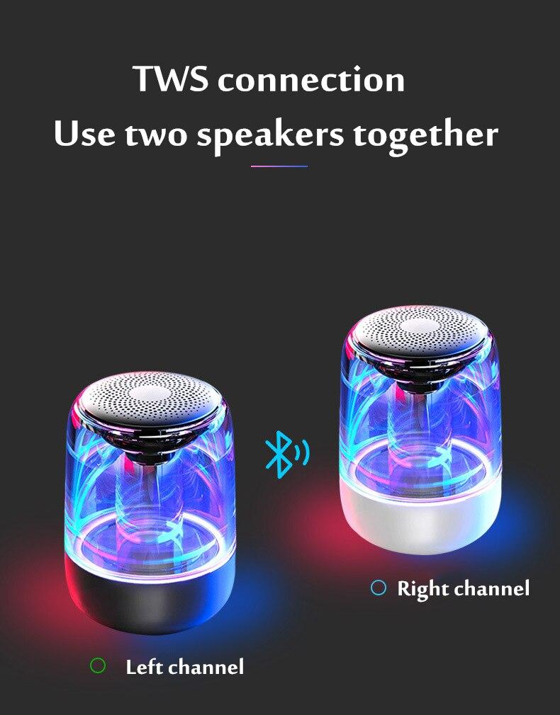 HANTOPER Colorful LED Lights Bluetooth Speaker  2