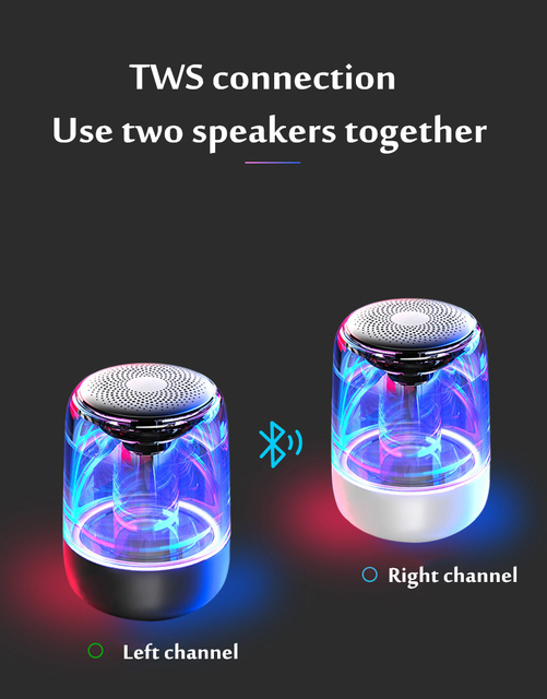 HANTOPER Colorful LED Lights Bluetooth Speaker  2