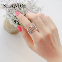 SHANICE 3 Layers Trendy Sterling Silver Jewelry Fashion Rings for Women with Black Stone Punk Cool Female Finger Round Ringen