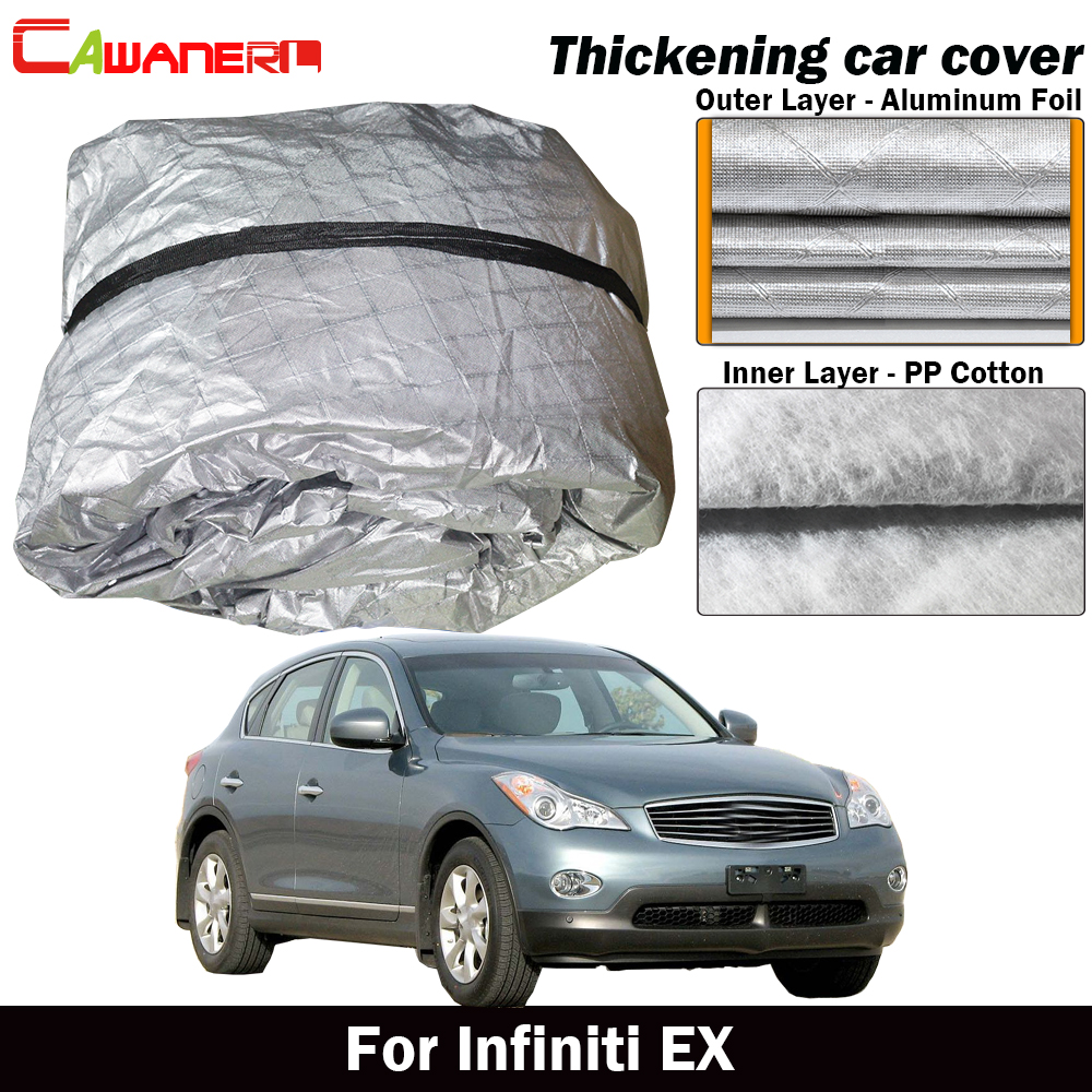 Cawanerl Waterproof Car Cover Thick Cotton Sun Shade Rain Snow Hail Resistant Cover For Infiniti EX EX25 EX35 EX37 EX30dCawanerl Waterproof Car Cover Thick Cotton Sun Shade Rain Snow Hail Resistant Cover For Infiniti EX EX25 EX35 EX37 EX30d