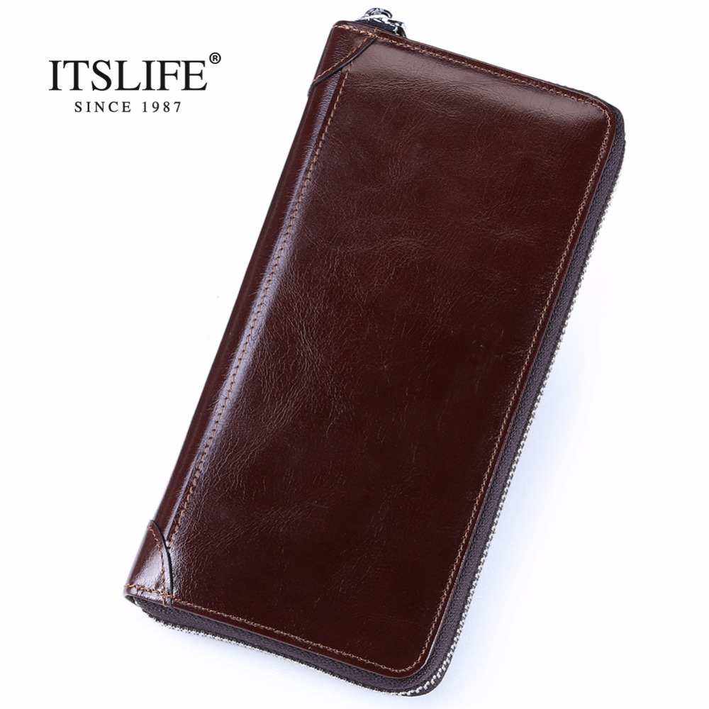 New oil wax leather men's wallet long retro business cowhide wallet zipper hand bag 2016 high quality purse clutch bag