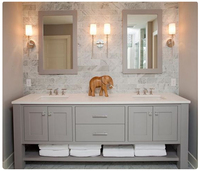2016 hot sales American style solid oak wood bathroom vanity with doulbe sink and benchtop