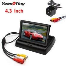 YuanTing 4,3 дюймовый автомобильный складной монитор заднего вида, 4 светодиодный, ночное видение, водонепроницаемый, Реверсивный, резервная, парковочная камера, система безопасности