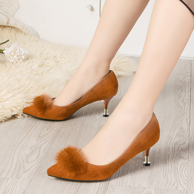 Lucyever 2019 New Shallow Women Pumps Pointed Toe Flock High Heels Ladies Shoes Sexy Thin Heeled Fur Ball Party Shoes Woman