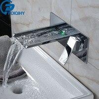 POIQIHY светодио дный водопад Ванная комната кран Настенные Ванная комната/бассейна кран Set одной ручкой смеситель