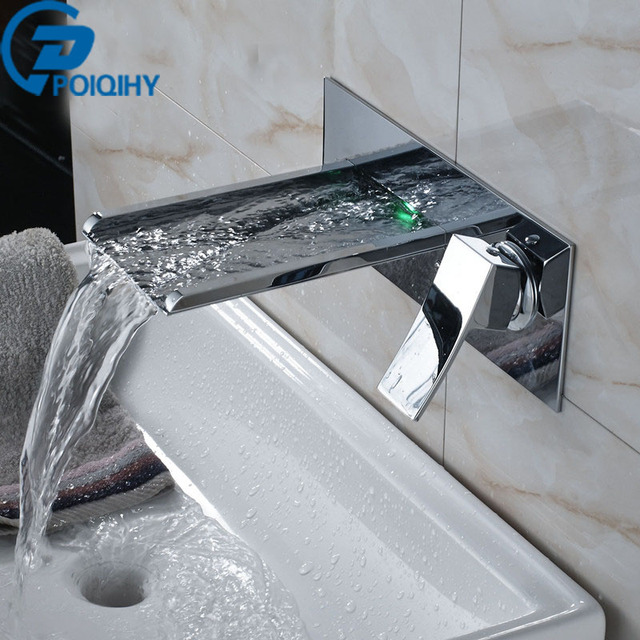 POIQIHY Led Waterfall Bathroom Faucet Wall Mounted Bathroom/Basin Faucet  Set Tap Waterfall Faucet Single