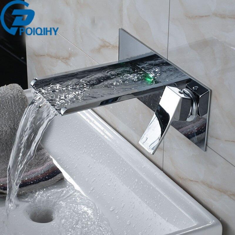 Poiqihy светодиодные Водопад Ванная комната кран Настенные Ванная комната/бассейна кран Set Водопад кран Одной ручкой смеситель