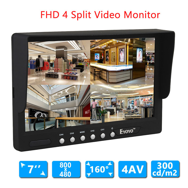 Eyoyo 7 Inch HD 4 Split Quad Video Display 4CH AV Input TFT LCD Car Rear View Monitor Free shipping diysecur 4pin dc12v 24v 7 inch 4 split quad lcd screen display rear view video security monitor for car truck bus cctv camera