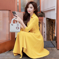 Dabuwawa Women Yellow Red Long Maxi Dress Pleated Irregular Hem A line Elegant holiday Dresses for female lady Girls