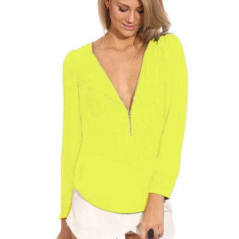2016 Autumn Long Sleeve Zipper V Neck Plus Size Chiffon ...