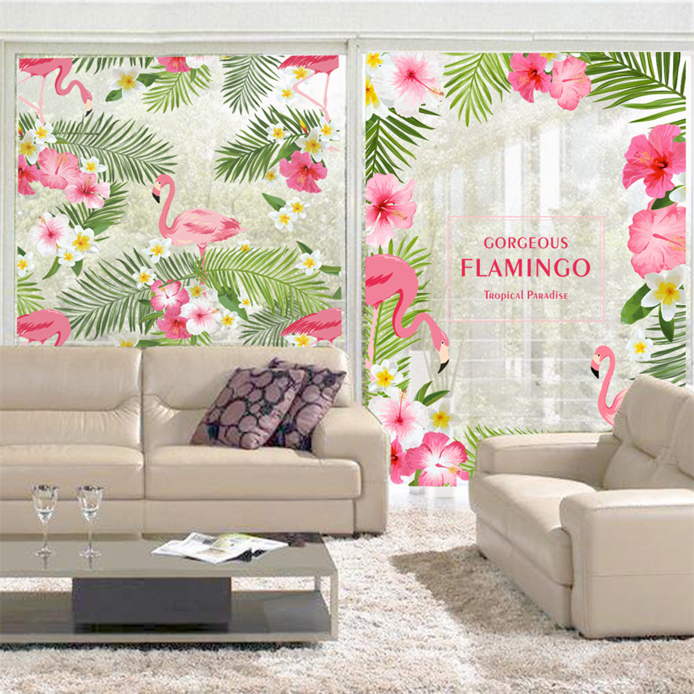 Garden Gorgeous Flamingo Flower Window Glass Sticker Bedroom Living Room Wall Art Home Decor Poster Mural Wedding Wallpaper