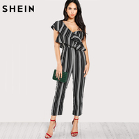 SHEIN Black And White Striped Jumpsuit For Women Summer One Shoulder Tiered Layer Sleeveless Mid Waist