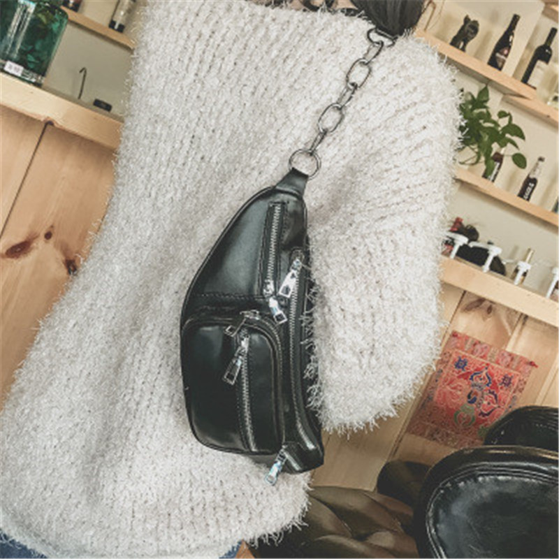NIBESSER Cool Women Waist Bag Multifunction Women Waist Pack Fashion Punk Leather Phone Bags Small Belt Bag Fanny Packs Women