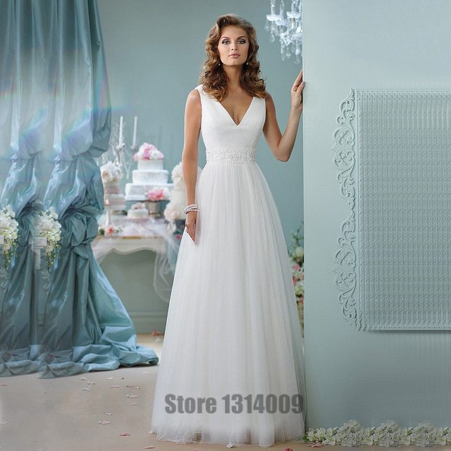 Simple Wedding Dress Elegant V Neck Spathetti Straps Soft Tulle ...