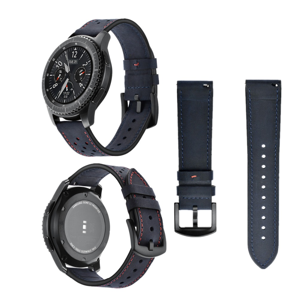 EIMO 22mm Retro Genuine Leather Strap for Samsung Gear S3 Classic/ Frontier Band Metal Buckle Wristband Replacement Bracelet jansin 22mm watchband for garmin fenix 5 easy fit silicone replacement band sports silicone wristband for forerunner 935 gps