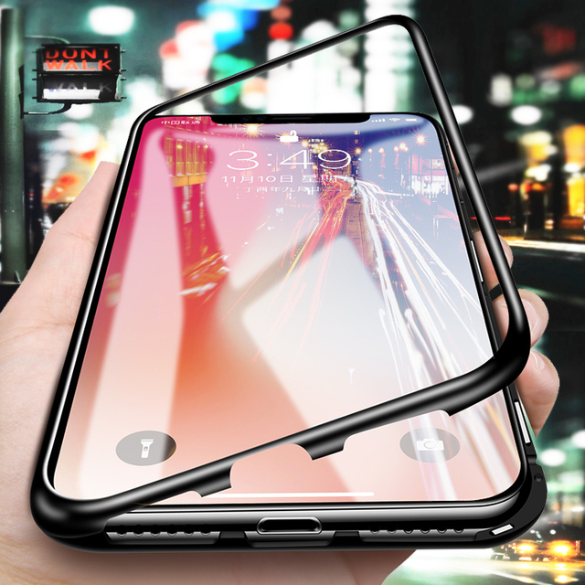 newest f6aab a61ed US $11.87 15% OFF|For HUAWEI Honor V10 Hard Shockproof Phone Case Magnetic  Adsorption Metal Bumper + Tempered Glass Back Cover Case For Honor 10-in ...