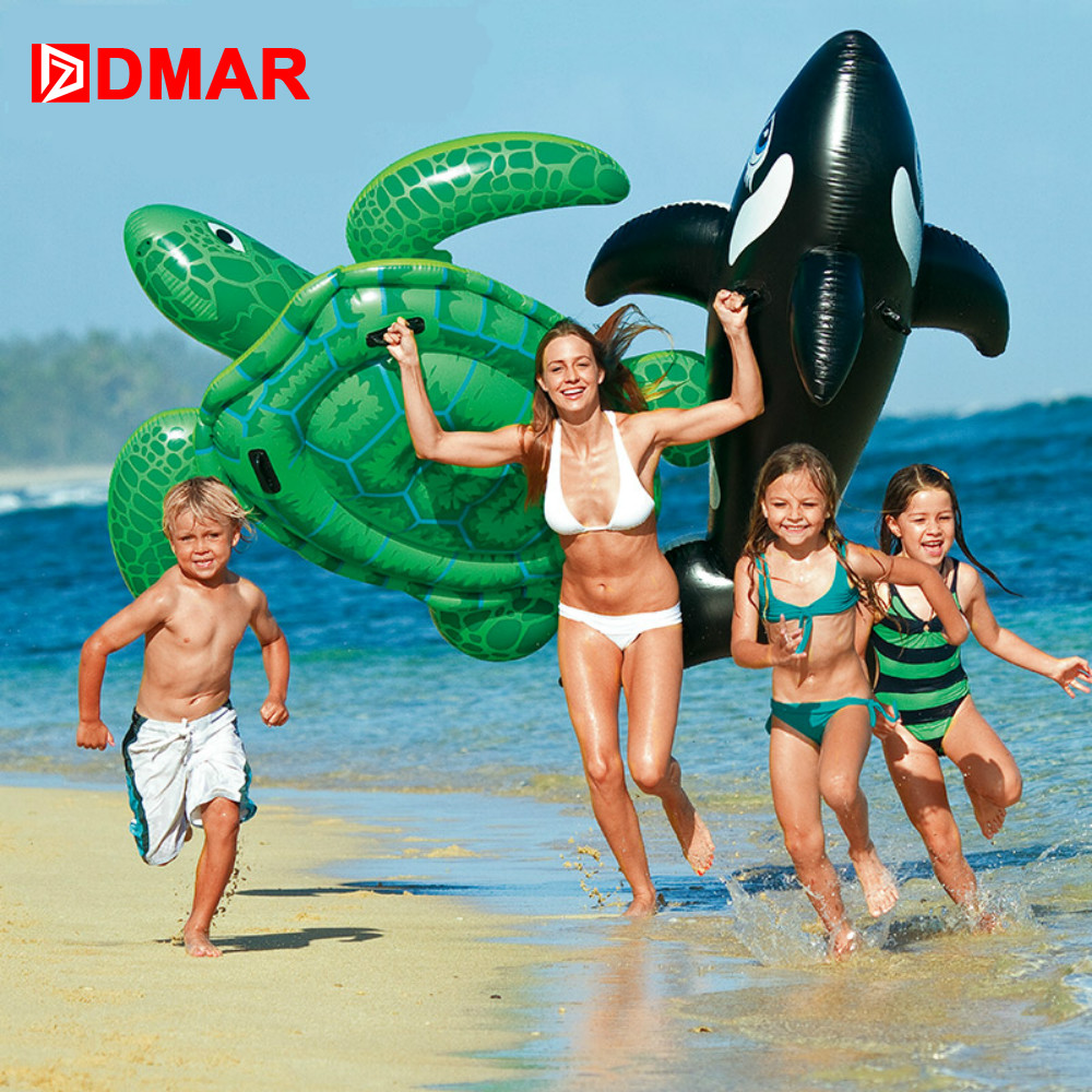 DMAR Inflatable Dolphin Whale Pool Water Float Toys Ride On For Kids Swimming Ring Circle Inflatable Mattress Beach Sea Party