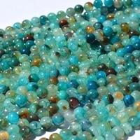 Fashion diy 8mm blue green round smooth dragon vein agat e beads 20pcs full strand women bijoux