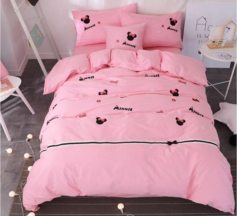 Rose bow minnie mouse literie ensemble reine taille draps de lit pour enfants couple mariage chambre décor roi housse de couette linge complet fille