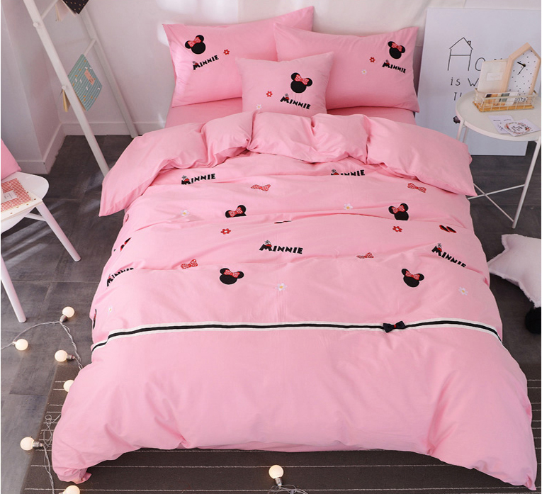 pink bow minnie mouse beddings set queen size bed sheets for ...