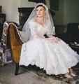 Vintage Design Half Sleeve Off Shoulder A-Line Ankle Length Lace Wedding Dresses Bridal Gown vestidos de noiva Custom Made W1062