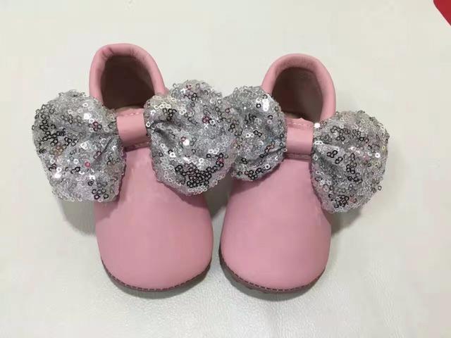 Bling de la manera del bebé del bowknot zapatos de borlas primero caminantes 3 colores bebé niñas zapatos de cuero genuino mocasines niños franja niño