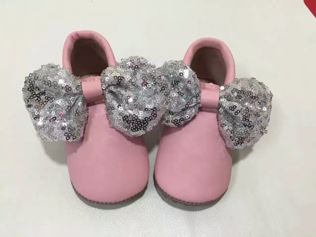 Fashion bling bowknot baby shoes tassels first walkers 3colors baby girls shoes genuine leather moccasins kids fringe toddler