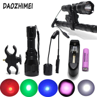1000LM Tactical Flashlight Green /red /blue/ white/ IR 850nm Lighting Hunting torch Remote Pressure Switch Gun Mount