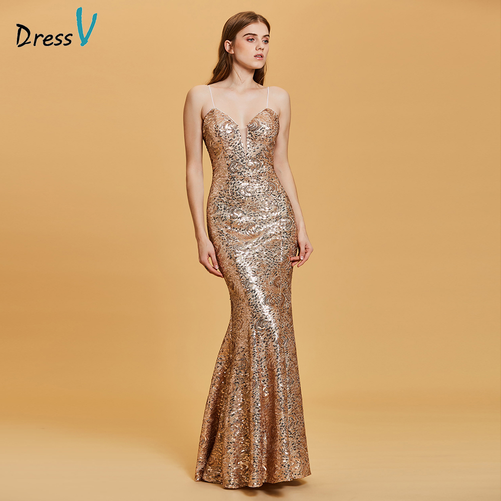 6d89cfbf8659 Dressv golden long evening dress cheap spaghetti straps backless mermaid wedding  party formal dress trumpet evening dresses
