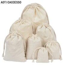 50 Pcs Puur Katoen Mousseline Trekkoord Tassen Wedding Party Gunsten Houder Sieraden Verpakking Gift Bag Aangepaste Logo Groothandel