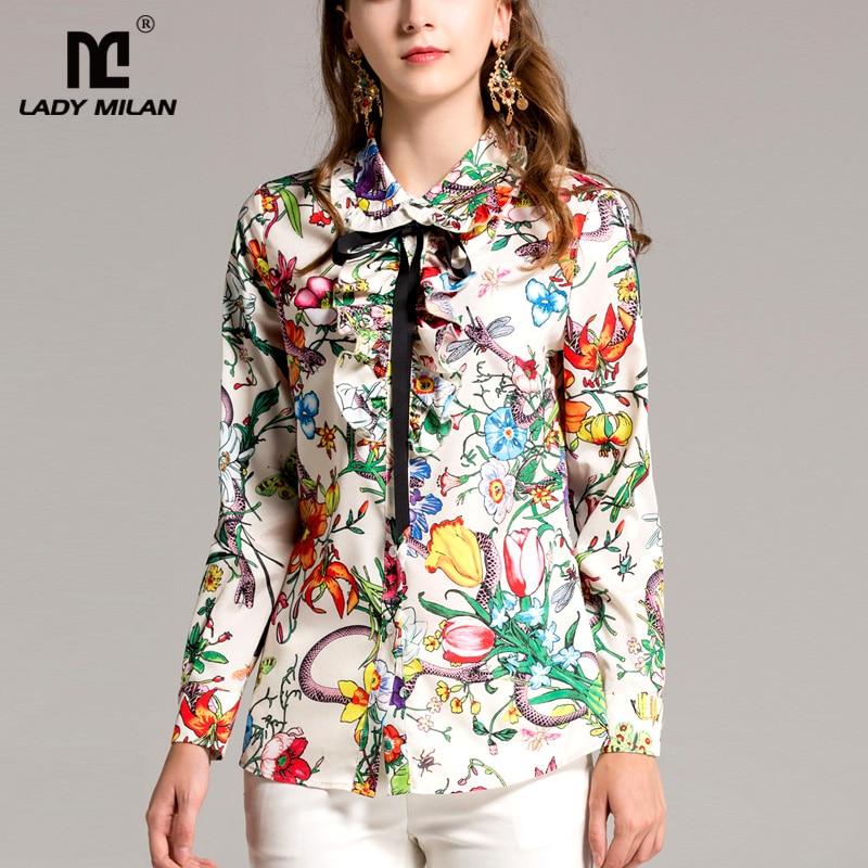 New Arrival 2018 Spring Womens Peter Pan Collar Ruffles Long Sleeves Printed Lace Up Fashion Runway Shirts