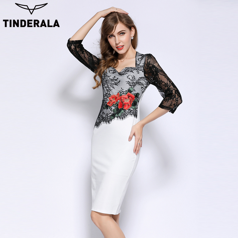 TINDERALA 2017 Women vintage Elegant Embroidered Floral lace casual party office Bandage Bodycon dresses Vestidos