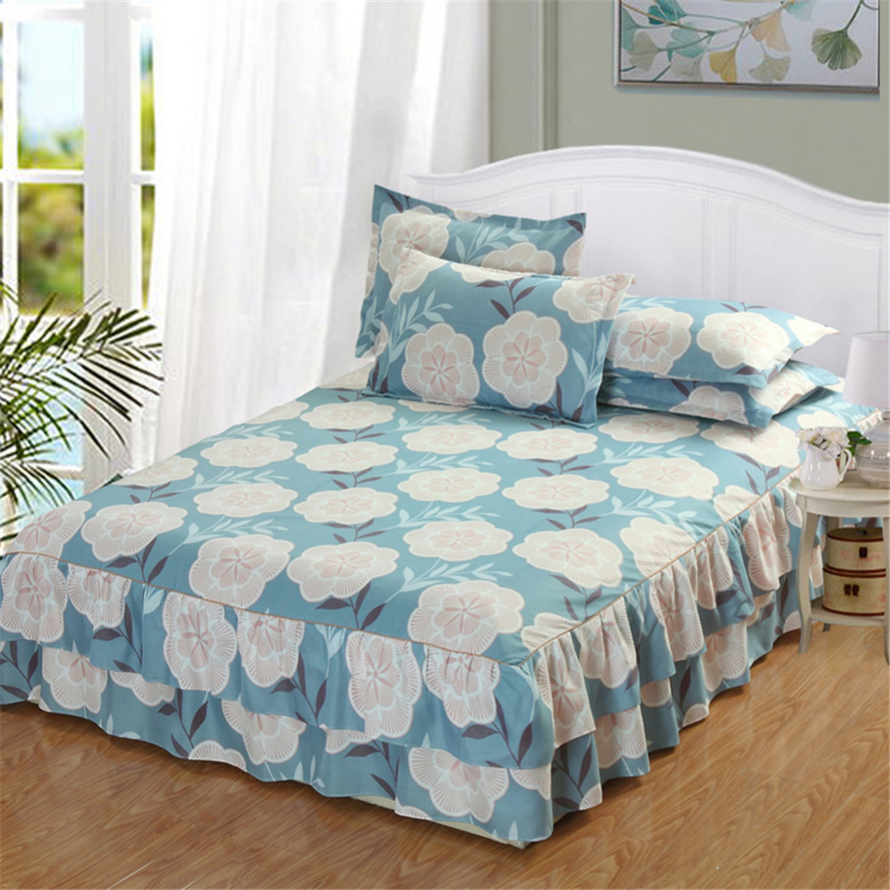 Cotton Fabric Floral Bedspread Bed Skirt Cover Sheet Pillowcase Queen Size Decro