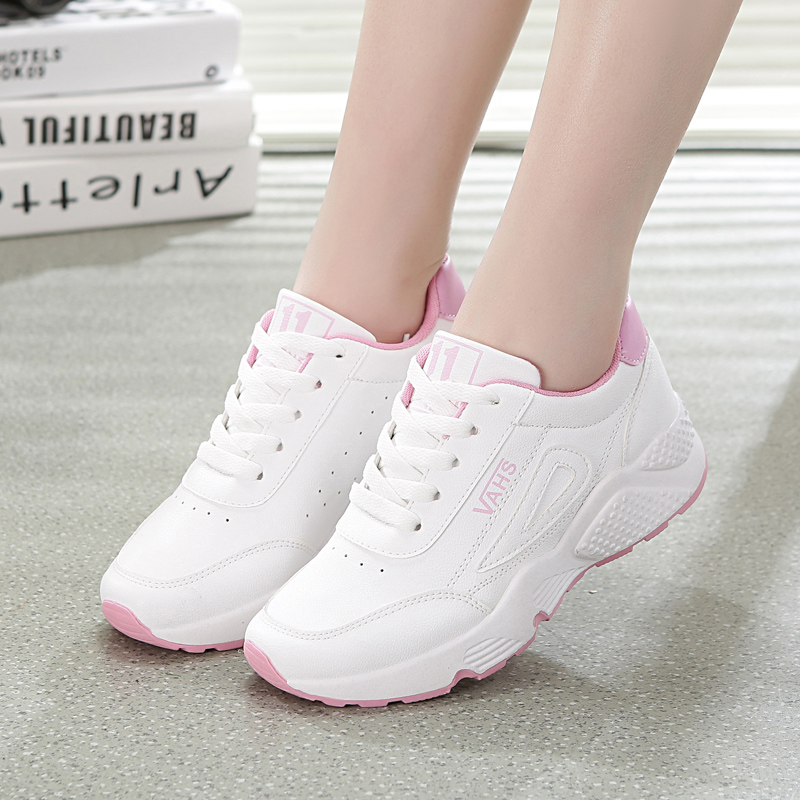 Spring Fashion Women Casual Shoes Pu Leather Platform Shoes  Breathable Women Sneakers Ladies White Trainers Chaussure Femme