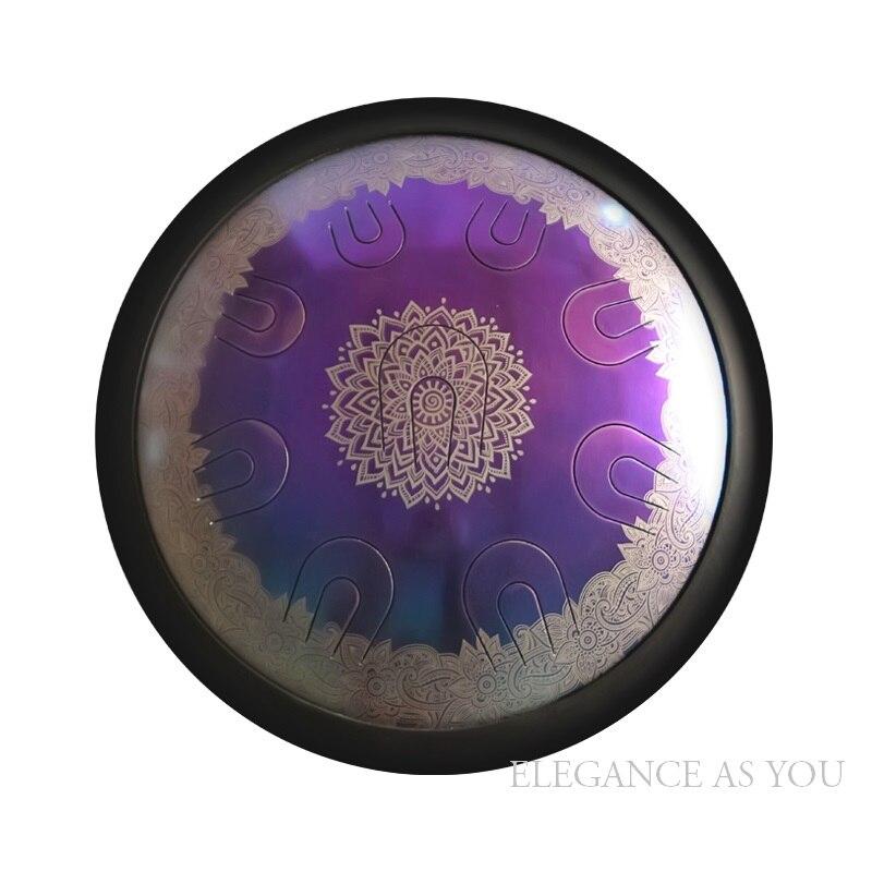 14 pouces vidéo performance art vide en acier langue tambour coloré fleur motif Mini accrocher tambour café couleur HandPan Hank tambour sac