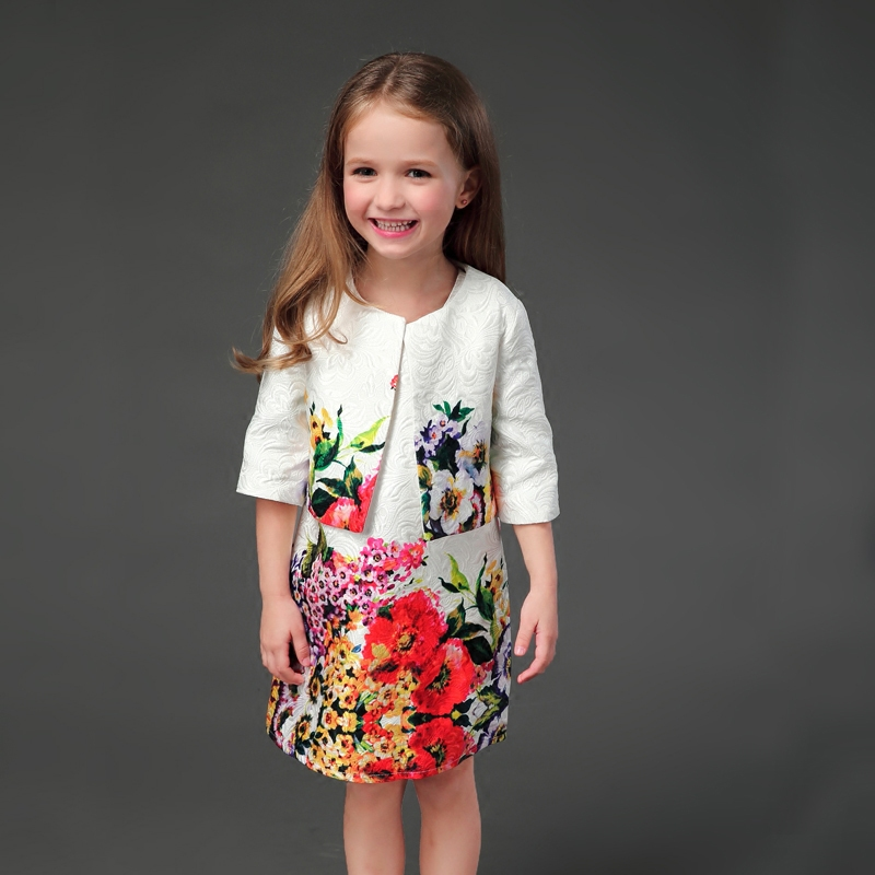 Autumn Winter fashion white floral prints girls straight sundress + jacket outwear mother daughter dress family matching clothesAutumn Winter fashion white floral prints girls straight sundress + jacket outwear mother daughter dress family matching clothes